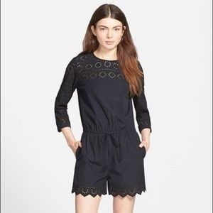 Madewell Black Bistro Romper Play suit Lace Trim 2